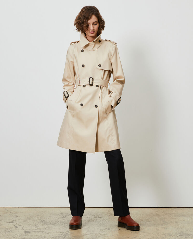 CATHERINE - Mid-length cotton belted trench Smoke gray Mambert