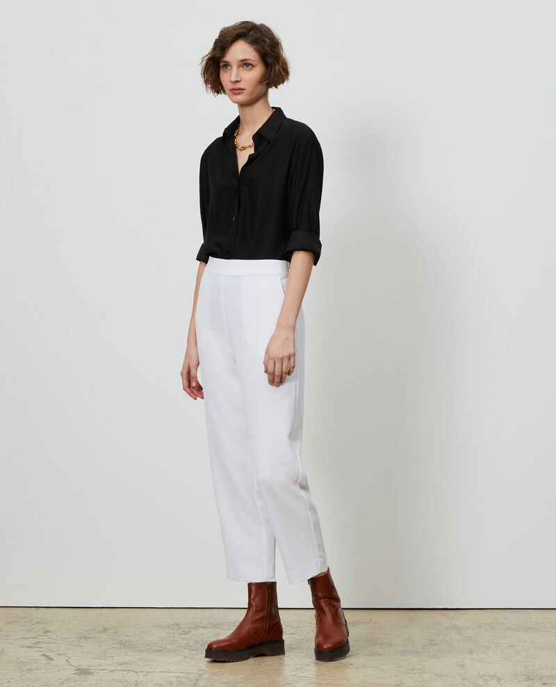 Loose elasticated polyester trousers Brilliant white Luant