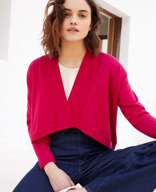 3D cotton short cardigan FUSHIA