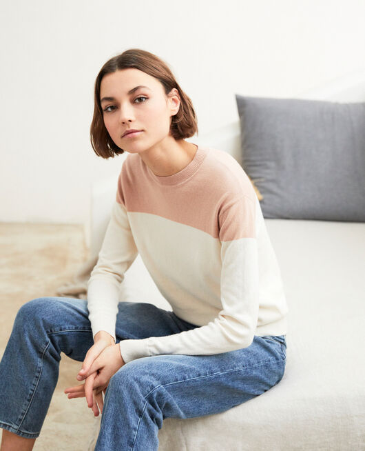Two-tone jumper PINK BEIGE