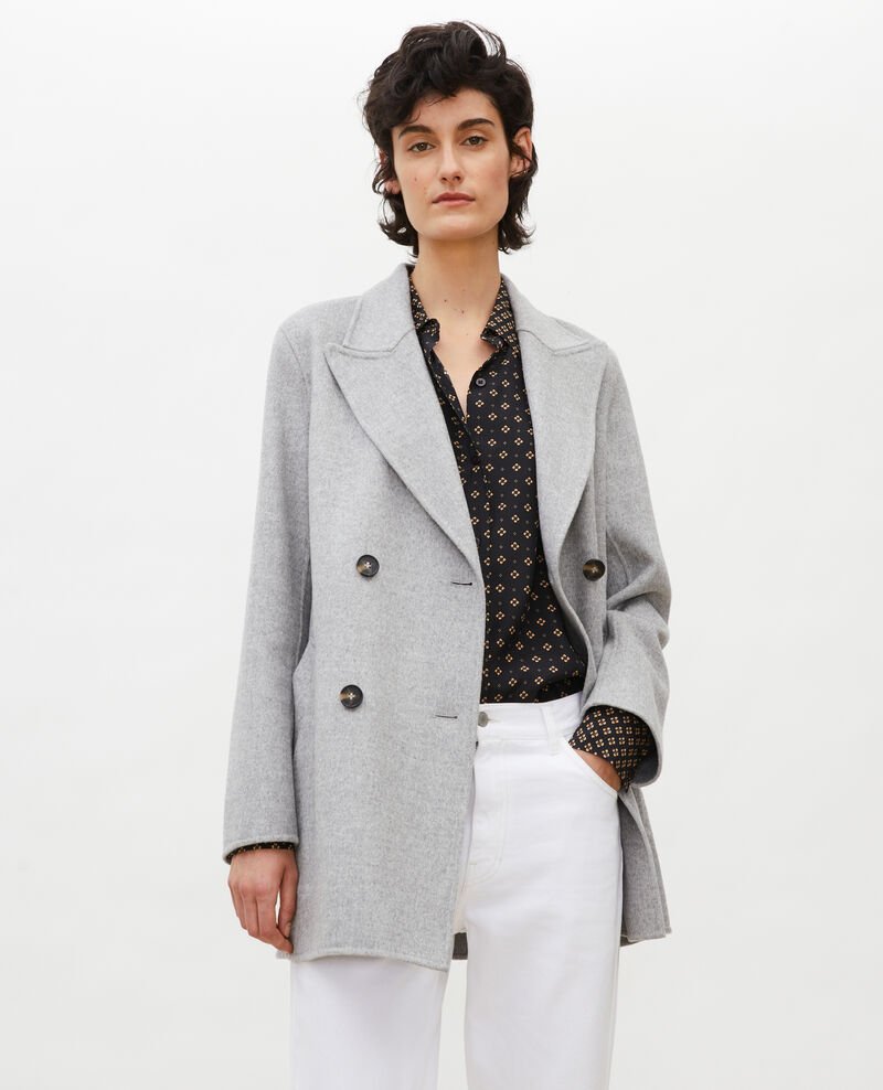 Double-sided wool pea coat Light grey Lintot