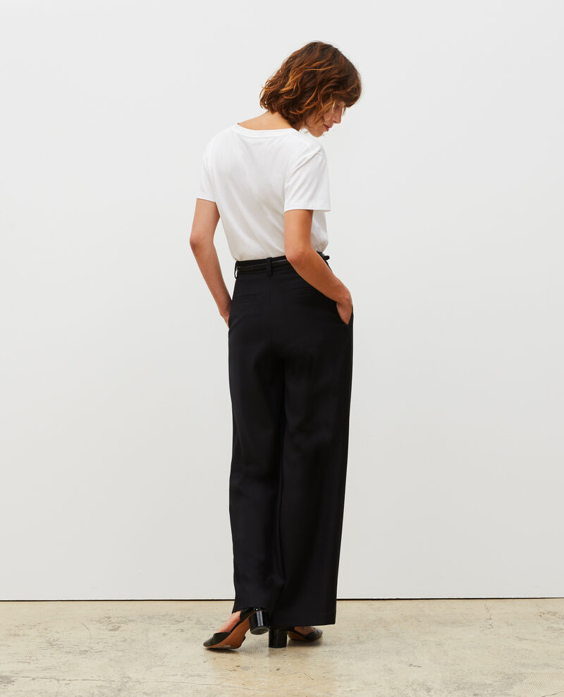 High-waisted wide wool trousers YVONNE Black beauty Mafare