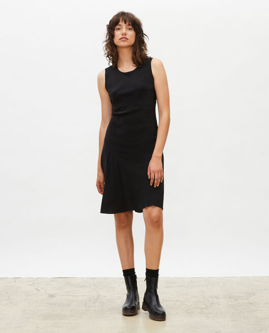 Sleeveless bias-cut silk dress BLACK BEAUTY
