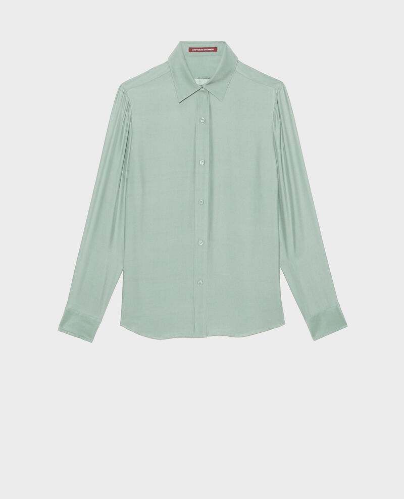 Long-sleeve silk men's shirt Chinois green Moriges