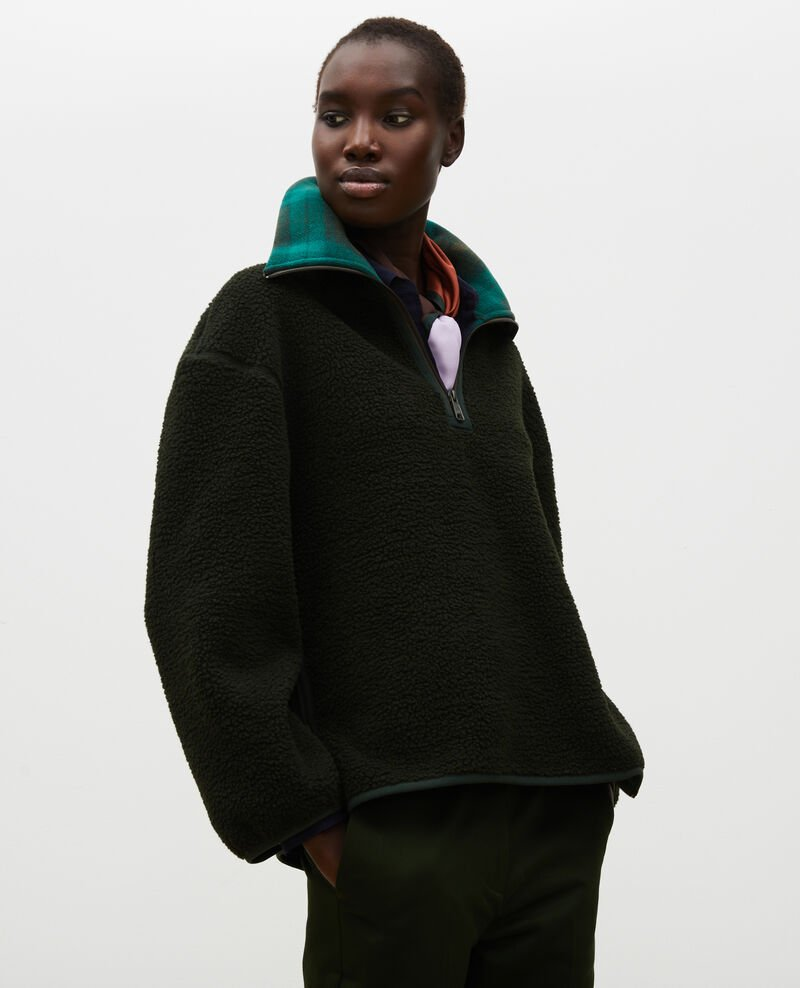 Fleece half-zip jumper with tartan collar Scarab Marson