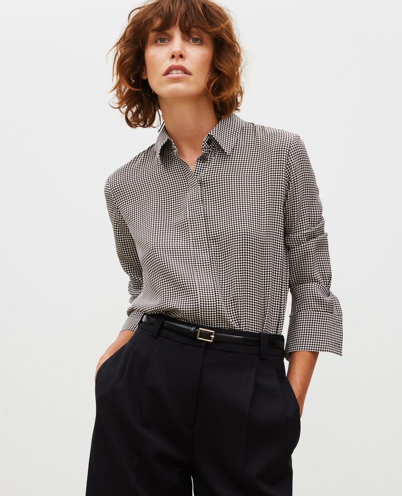 Long-sleeve silk shirt Print damiers coffee bean Misabethou