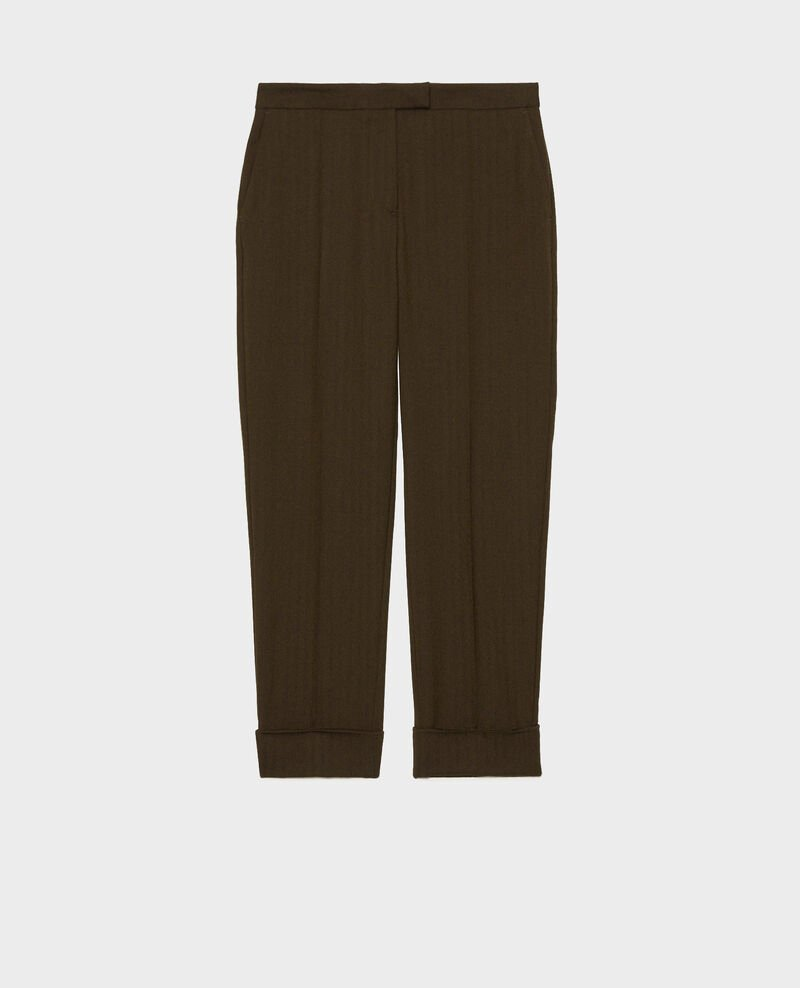 Tapered wool 7/8 trousers MARGUERITE Military green Mokita