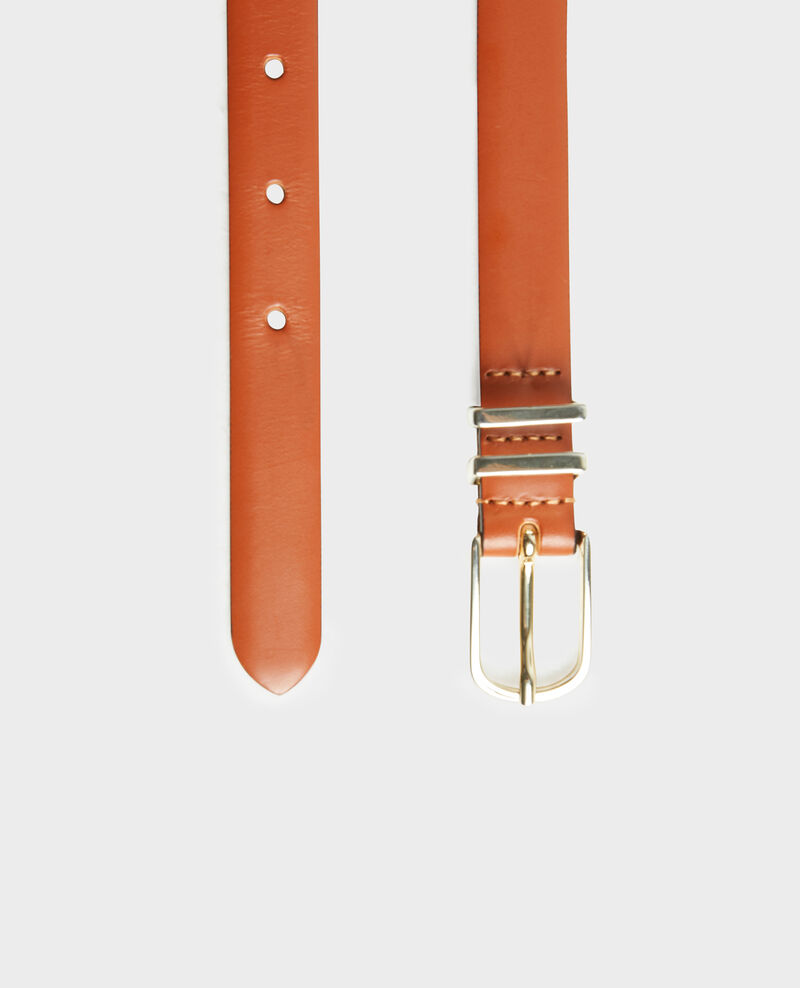 Leather belt with gold buckle and loops Brandy brown Mendite