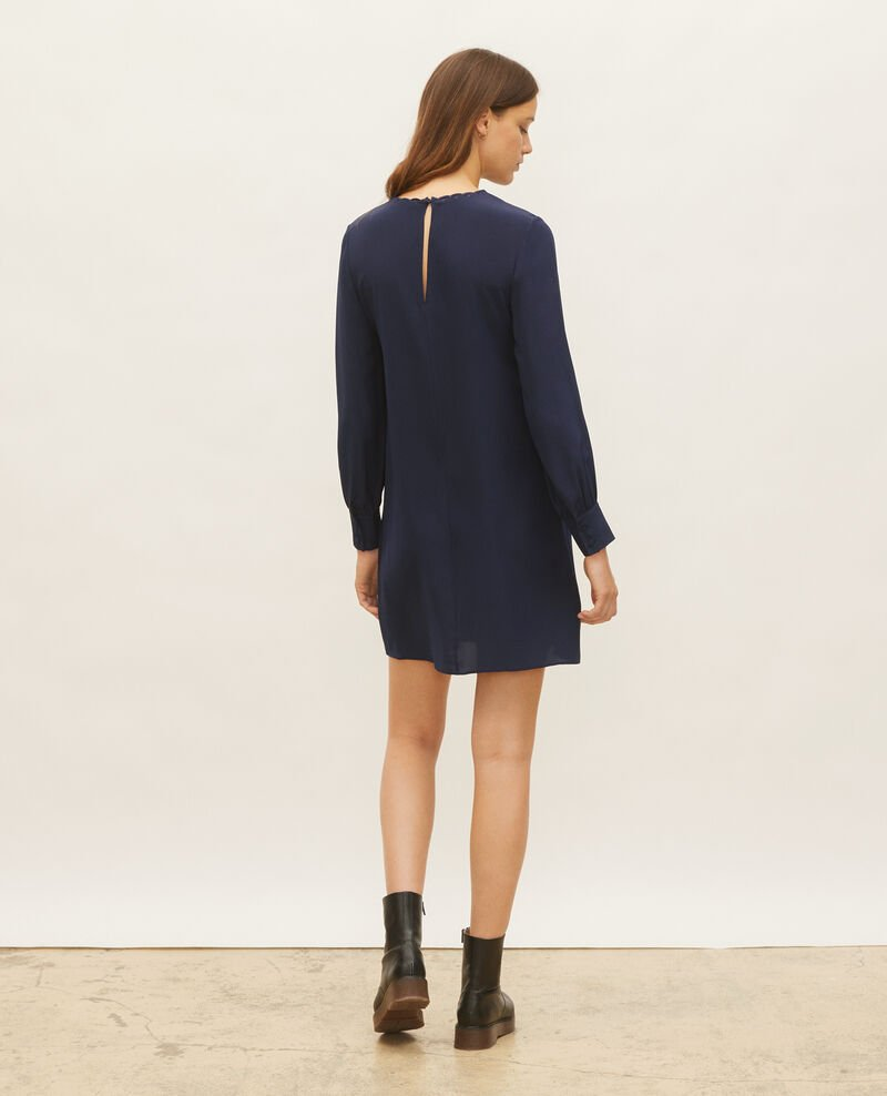 Loose mini silk dress. Maritime blue Lamax