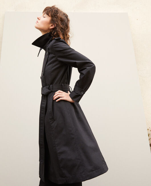 Mid-length trench coat Black