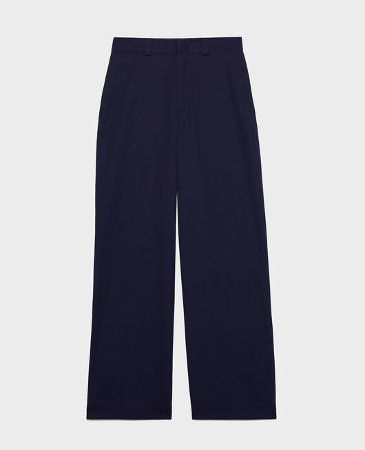 Cotton boyfriend trousers MARITIME BLUE