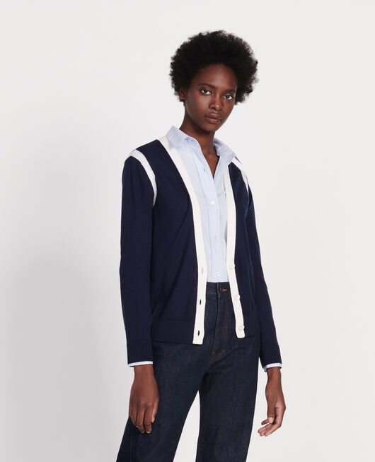 Cardigan STRIPES MARITIME BLUE GARDENIA