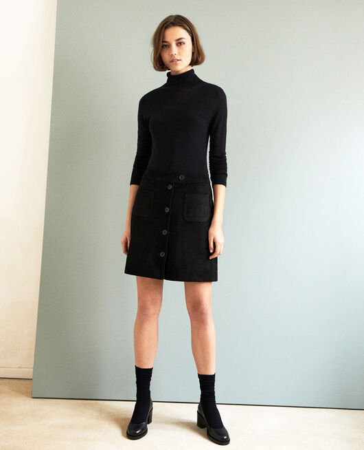 Suede mini skirt NOIR