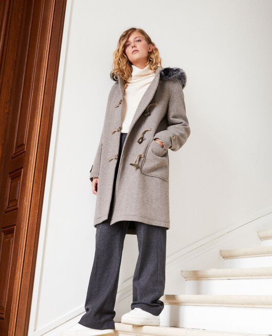 Duffle-coat-type coat GREY/BEIGE