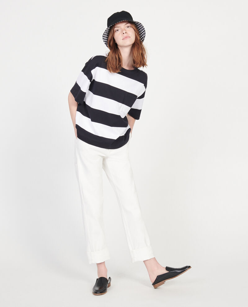 Mercerised cotton oversize striped t-shirt Str opticalwhite black Lord