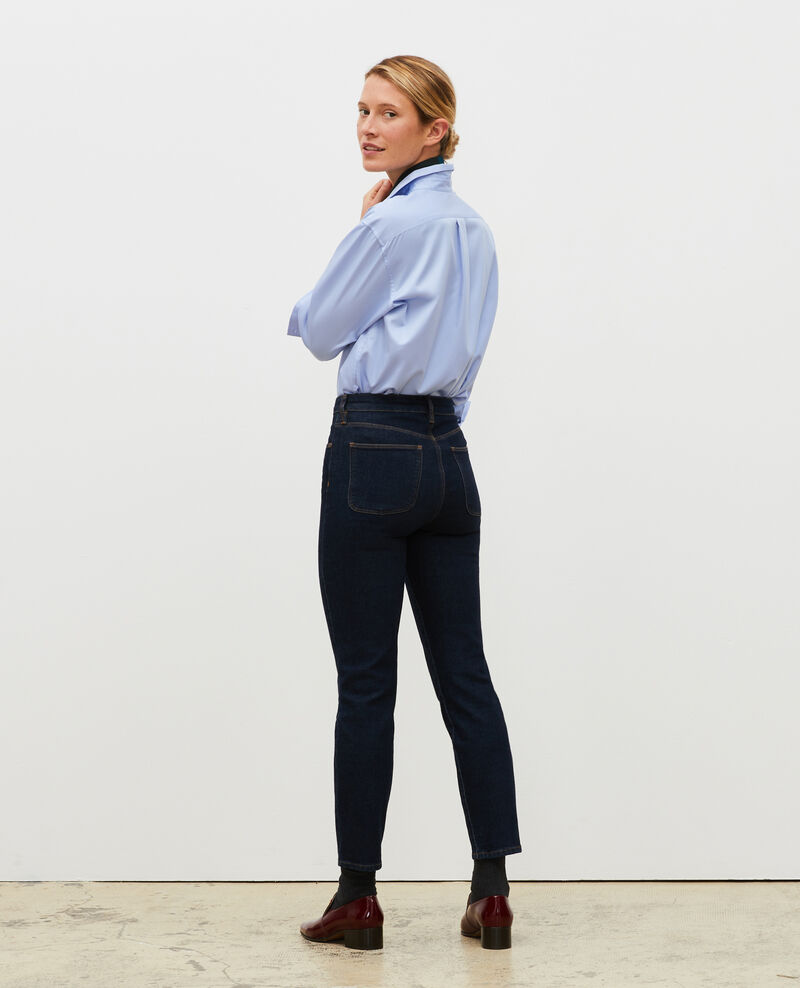 SLIM HIGH RISE - Cropped 5 pocket jeans Denim rinse Mervilla