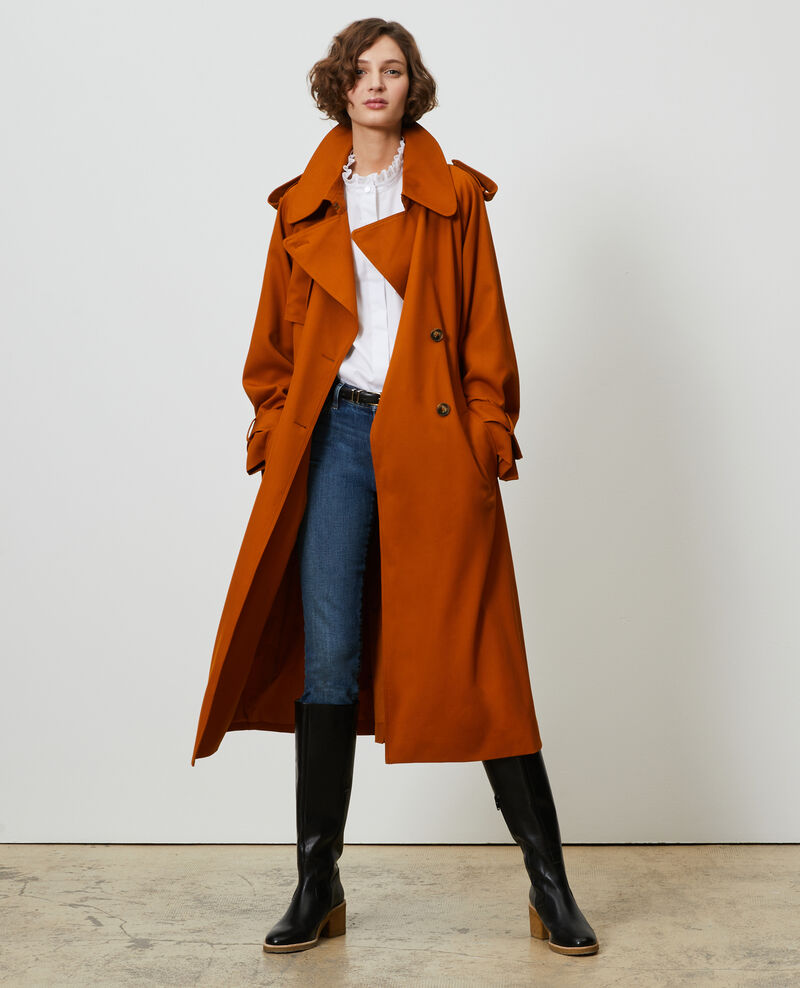 Long loose wool trench Pumpkin spice Messimy