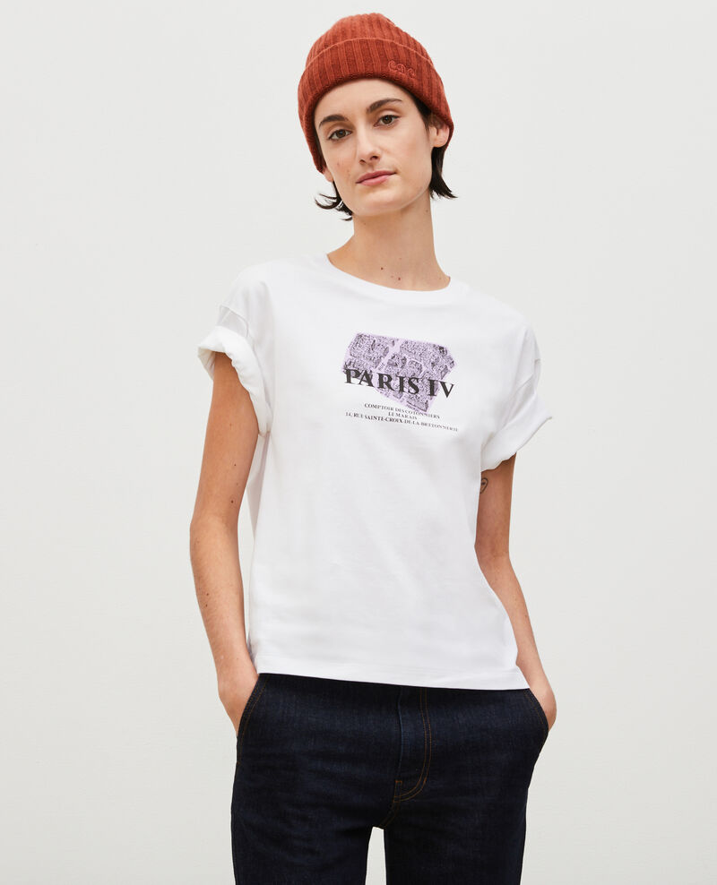 Short-sleeve cotton t-shirt Pastel lilac Mariette