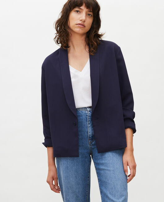 Loose polyester blazer MARITIME BLUE