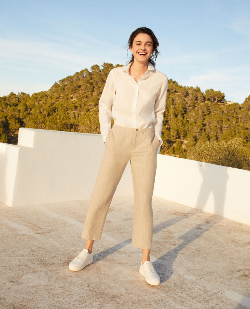 Carrot trousers Natural linen/off white Iphon