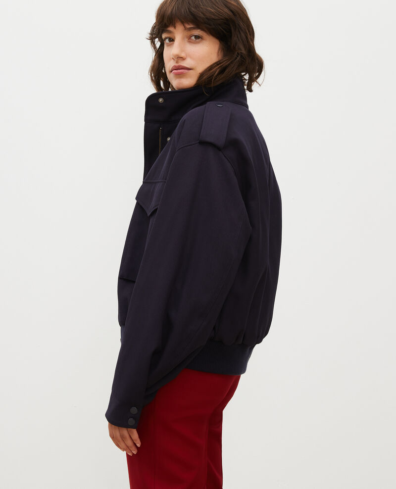 Wool gabardine aviator jacket Night sky Maulap