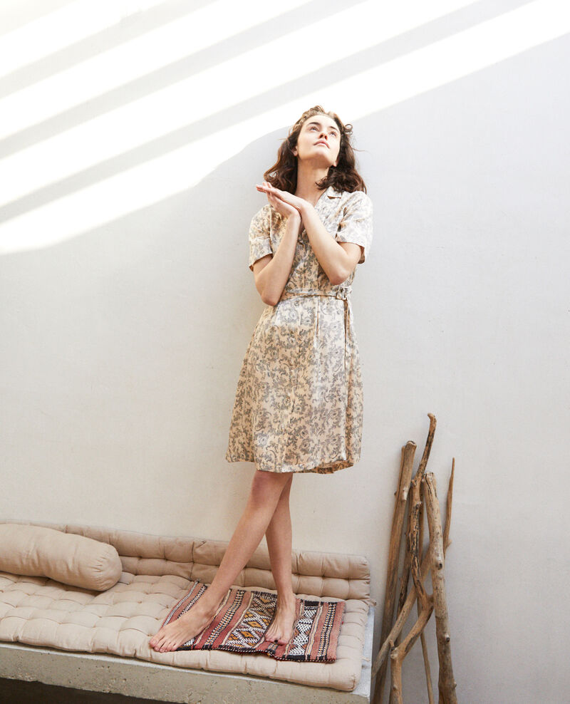 Plunge dress Bandana light beige Illara