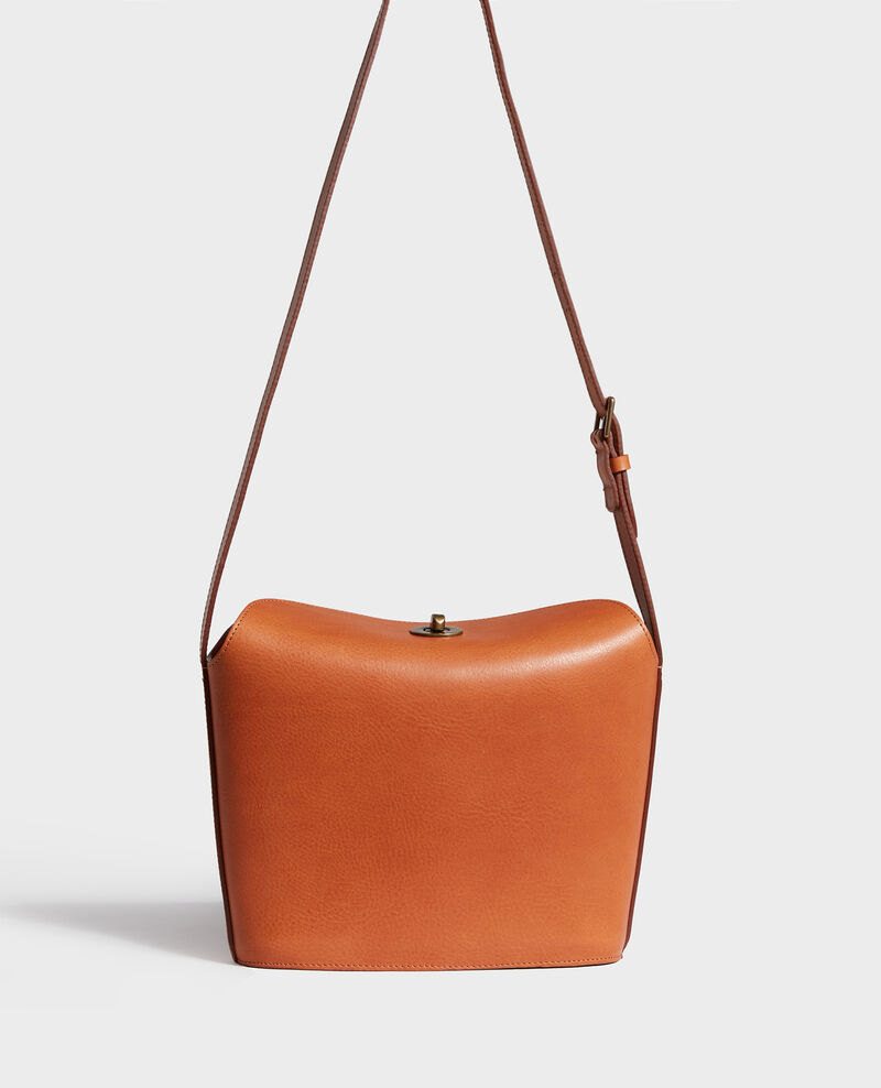 Leather handbag with short shoulder strap Camel Lidylle