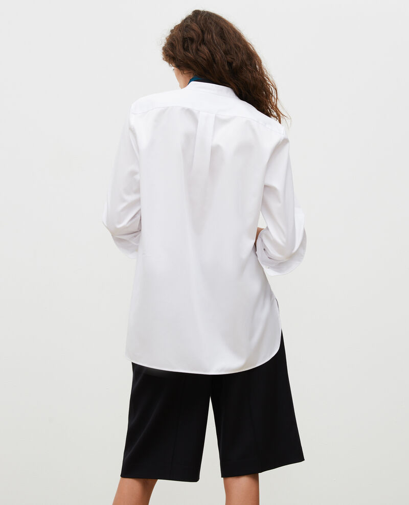 Oversize cotton shirt with bib front Brilliant white Mime