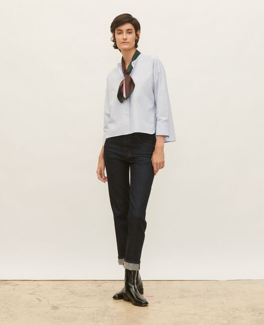 Collarless shirt in cotton poplin HEATHER