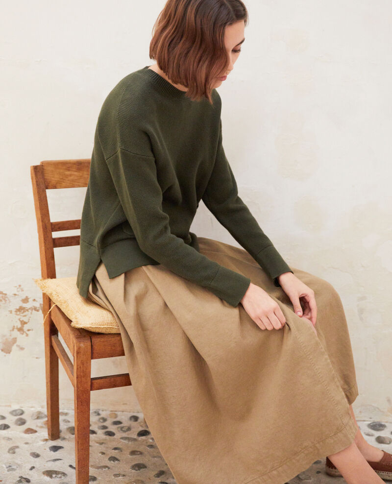 Round neck jumper Olive green Ifetou