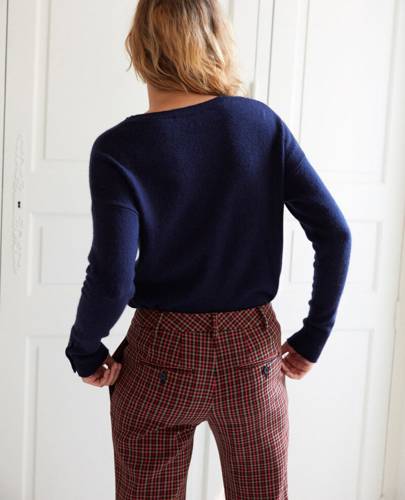 Jumper with buttons on the sleeves 100% cashmere Dark navy Jypie