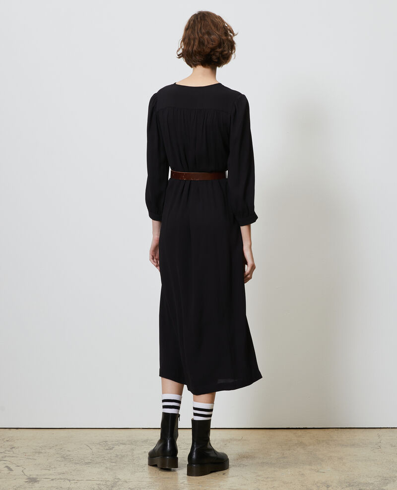 Loose belted maxi dress Black beauty Nature
