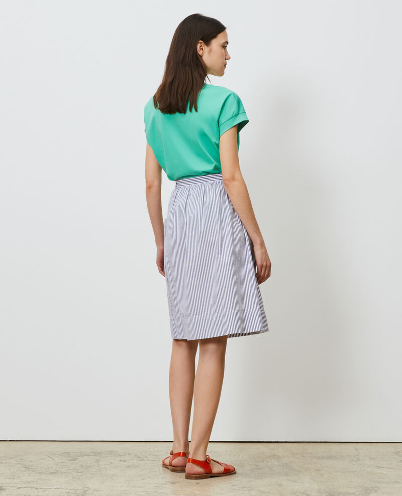 Cotton seersucker midi skirt Str navy Nebaral
