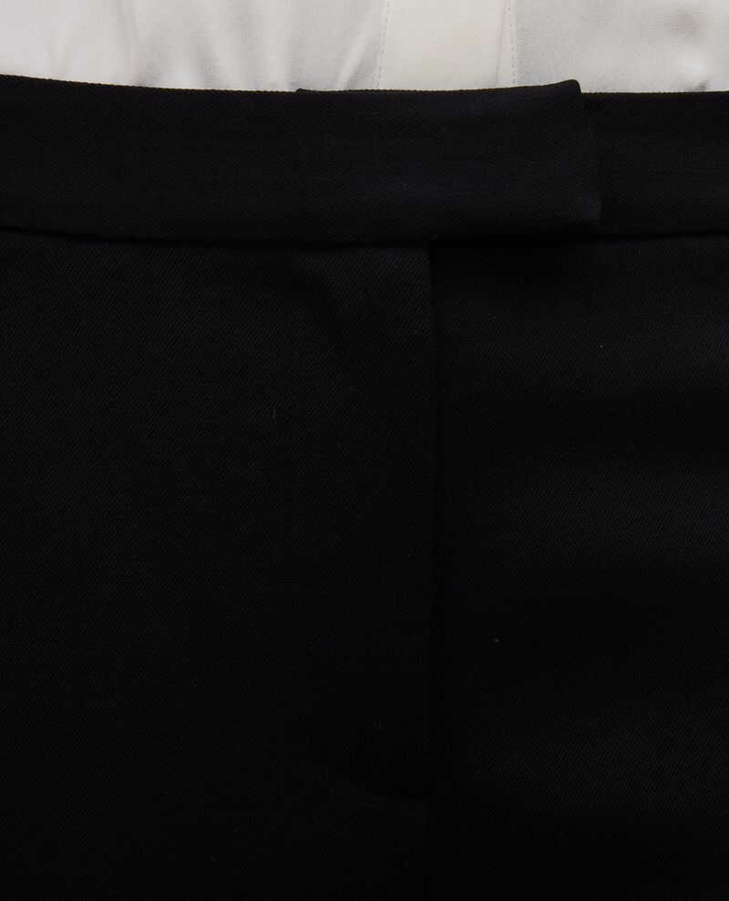 Tapered wool 7/8 trousers  MARGUERITE  Black beauty Mokyo