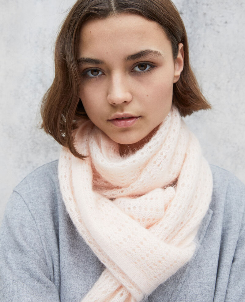 Novelty knit scarf Light pink Imohair
