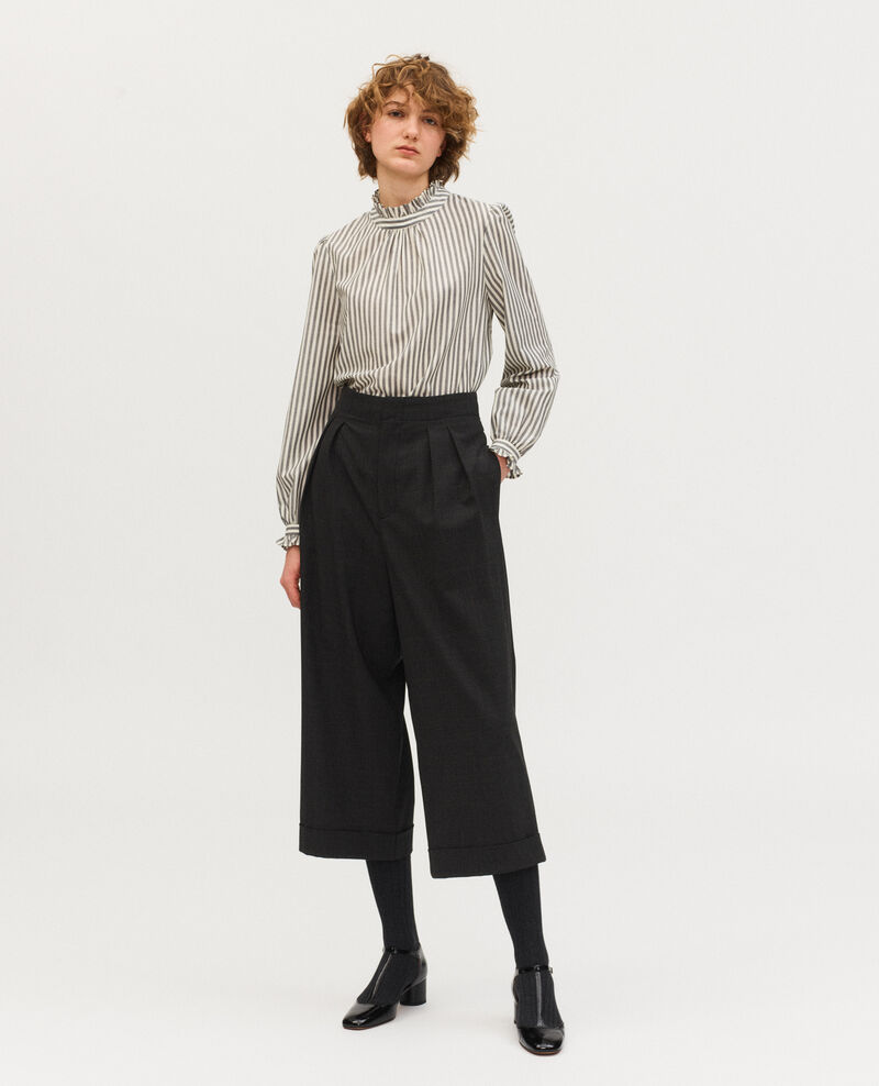 Wide cropped Prince of Wales check wool trousers YVONNE Check-wool-pattern-tailoring Mirboz