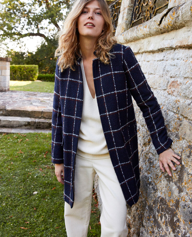 Check print coat Navy checks Jover