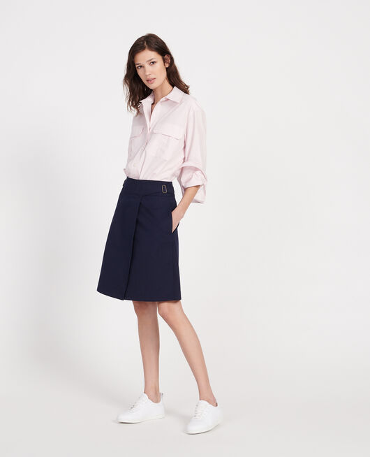 Cotton wrapover skirt MARITIME BLUE
