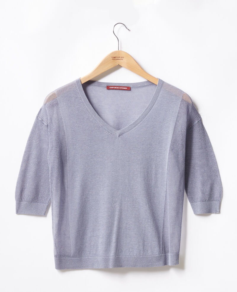 Jumper with open knit details Washed blue Fugees