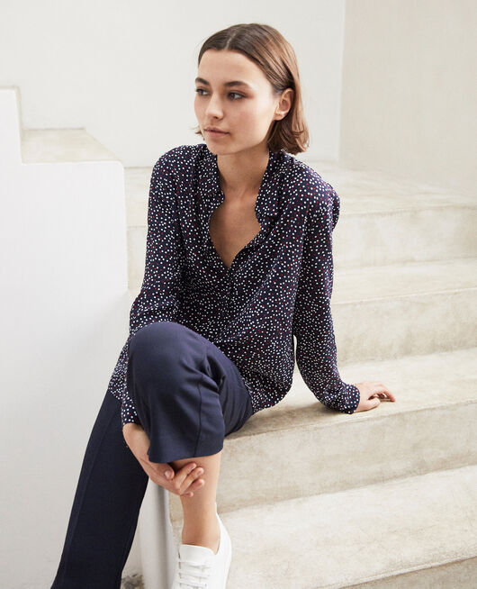 Loose shirt DOT PRINT NAVY