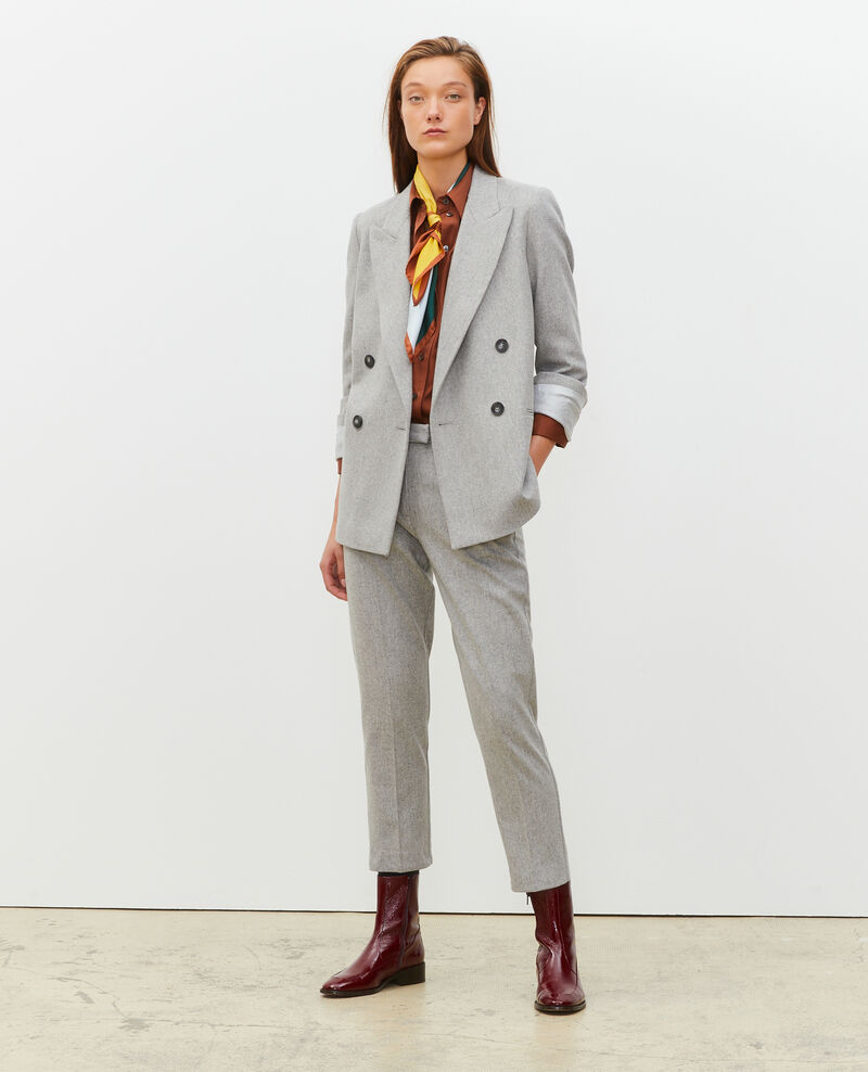Double-breasted wool blazer Light grey melange Muciane