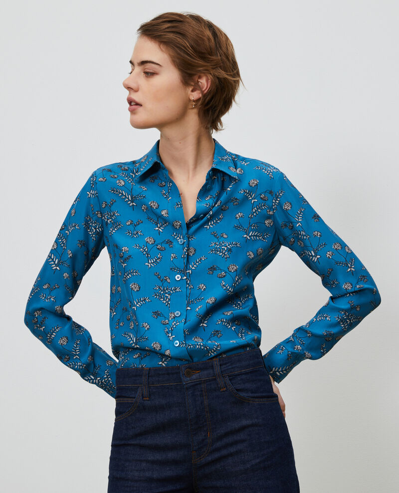 SIBYLLE - Printed silk shirt Coronille faience Nabilo