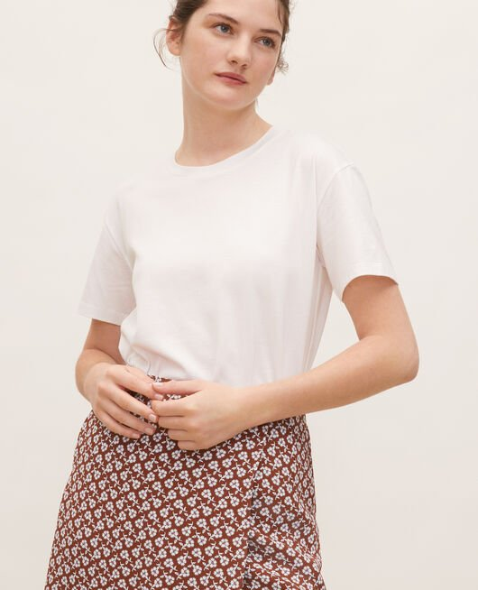 Round neck cotton t-shirt OPTICAL WHITE