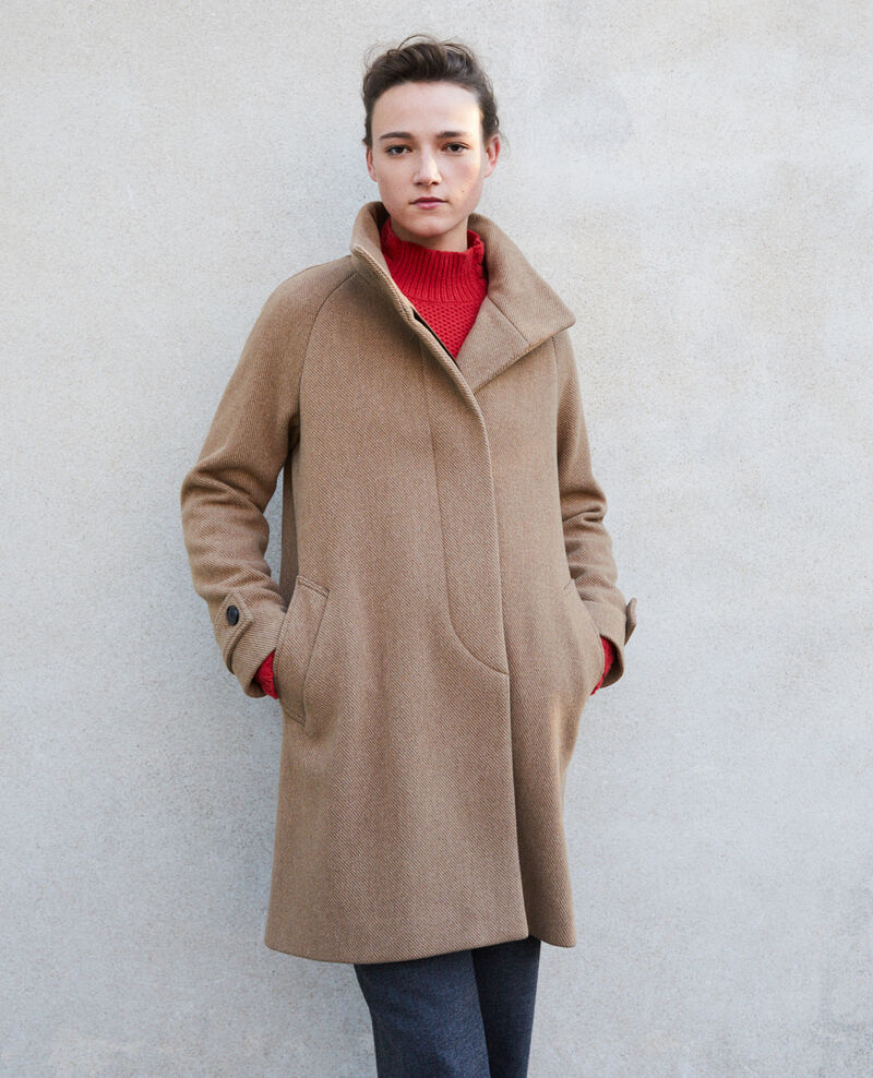 Coat with stand-up collar Beige Goyave