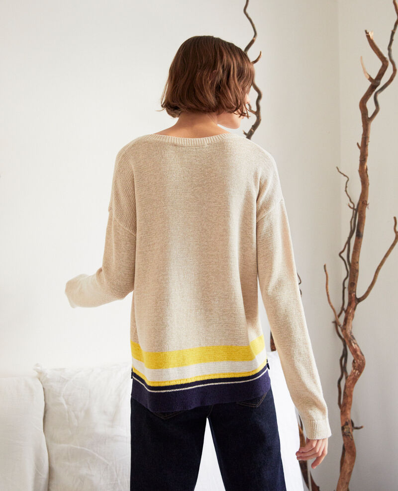 Linen blend round neck jumper Natural beige Iraye