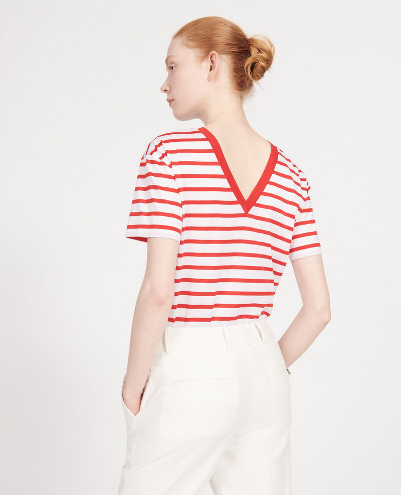 Egyptian cotton t-shirt Stripes optical white fiery red Lisou