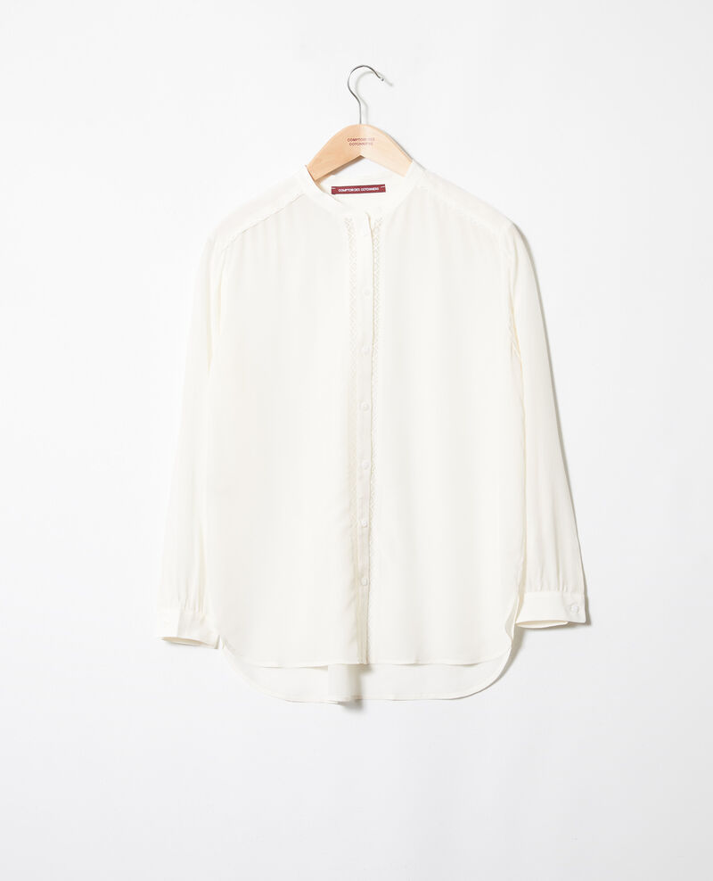 Blouse made of silk with lace detail Coconut milk Javant