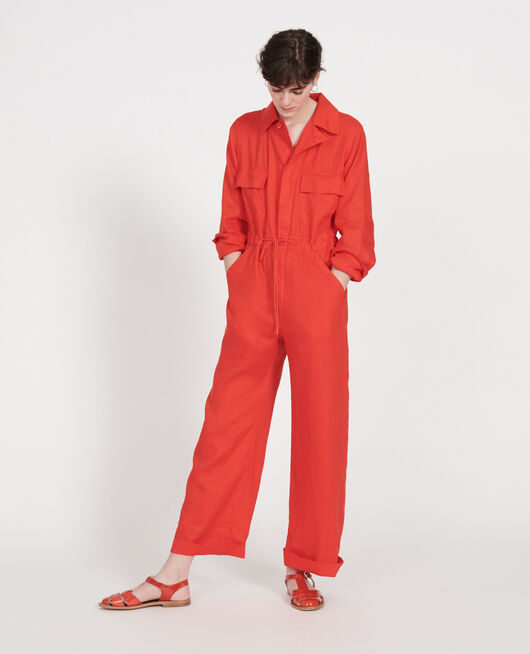 Linen jumpsuit FIERY RED