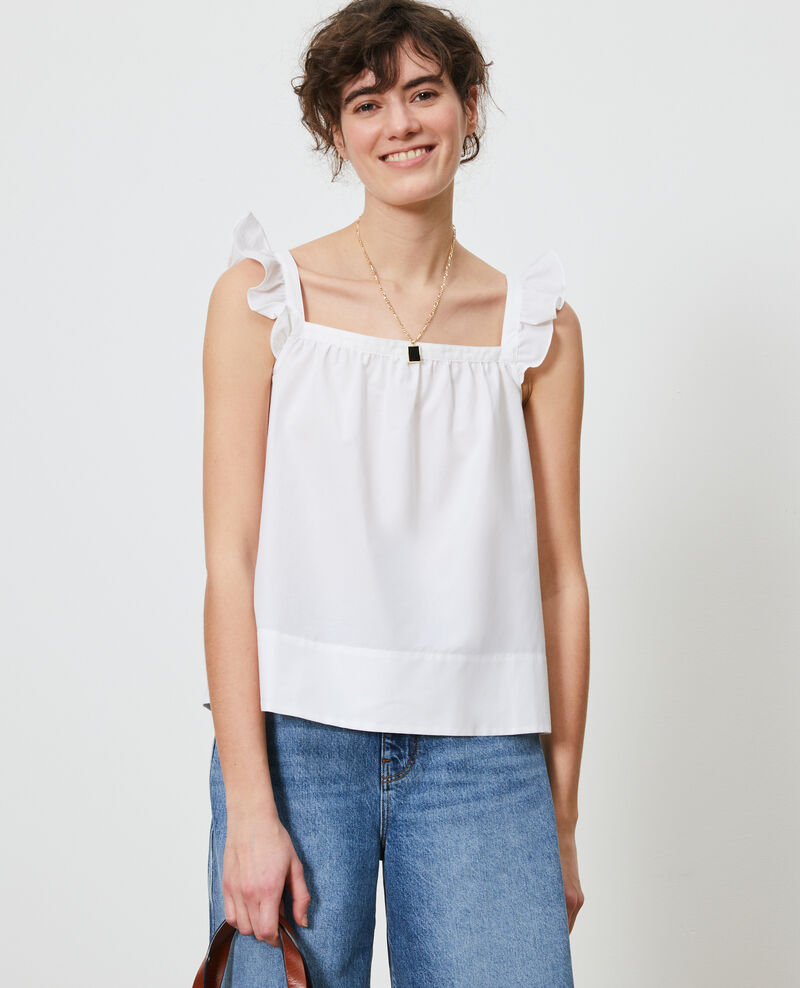 Cotton and silk strappy top Brilliant white Nymphie