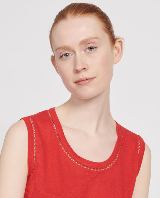 Linen tank top FIERY RED